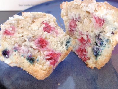 Blueberry Raspberry Streusel Muffin