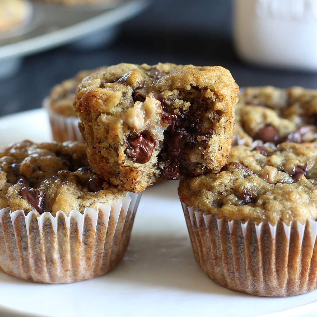 Banana Espresso Chocolate Chip Muffins are ultra tender and moist and absolutely loaded with flavor. The perfect breakfast treat!