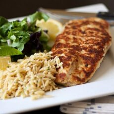 Chicken Milanese with Spring Greens & Orzo