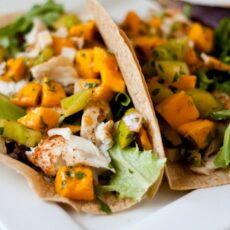 Healthy Fish Tacos with Mango Salsa Verde