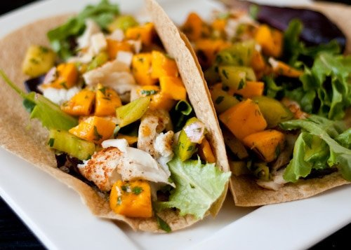 Healthy Fish Tacos with Mango Salsa Verde
