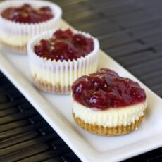 Mini Vanilla Bean Cheesecakes with Holiday Cranberry Topping