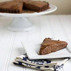 Chocolate Mousse Tart with Bourbon Caramel Sauce