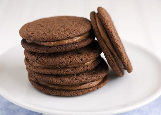 Chocolate Malt Sandwich Cookies - Handle the Heat