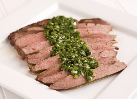 grilled flank steak with parsley