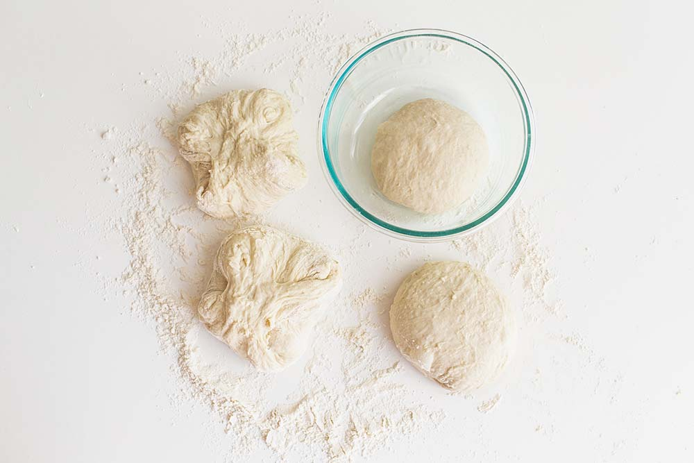 how to make pizza dough balls and divide into 4 portions