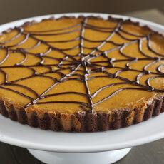 Pumpkin Chocolate Spiderweb Tart