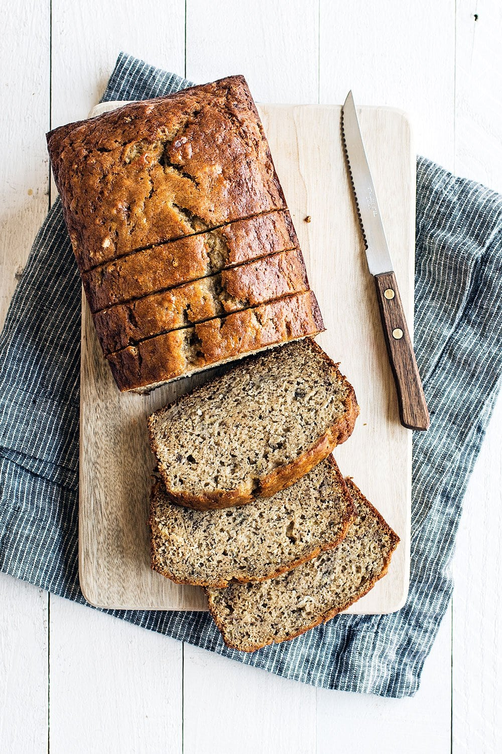 Simple and easy foolproof banana bread recipe - feel free to add nuts or chocolate chips!