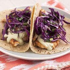 Ancho Chicken Tacos with Cilantro Slaw & Avocado Cream