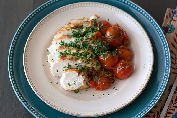 Chicken with Herb-Roasted Tomatoes - Handle the Heat