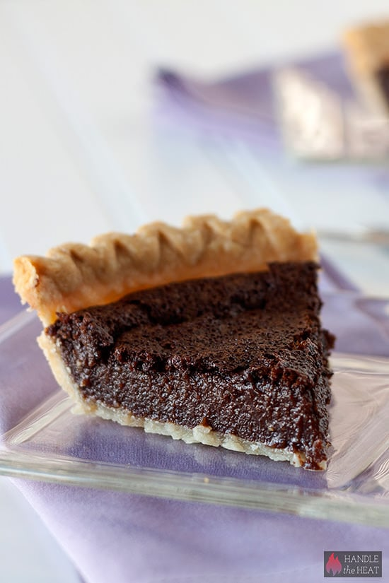 Chocolate Chess Pie - a cross between a brownie and pudding pie!
