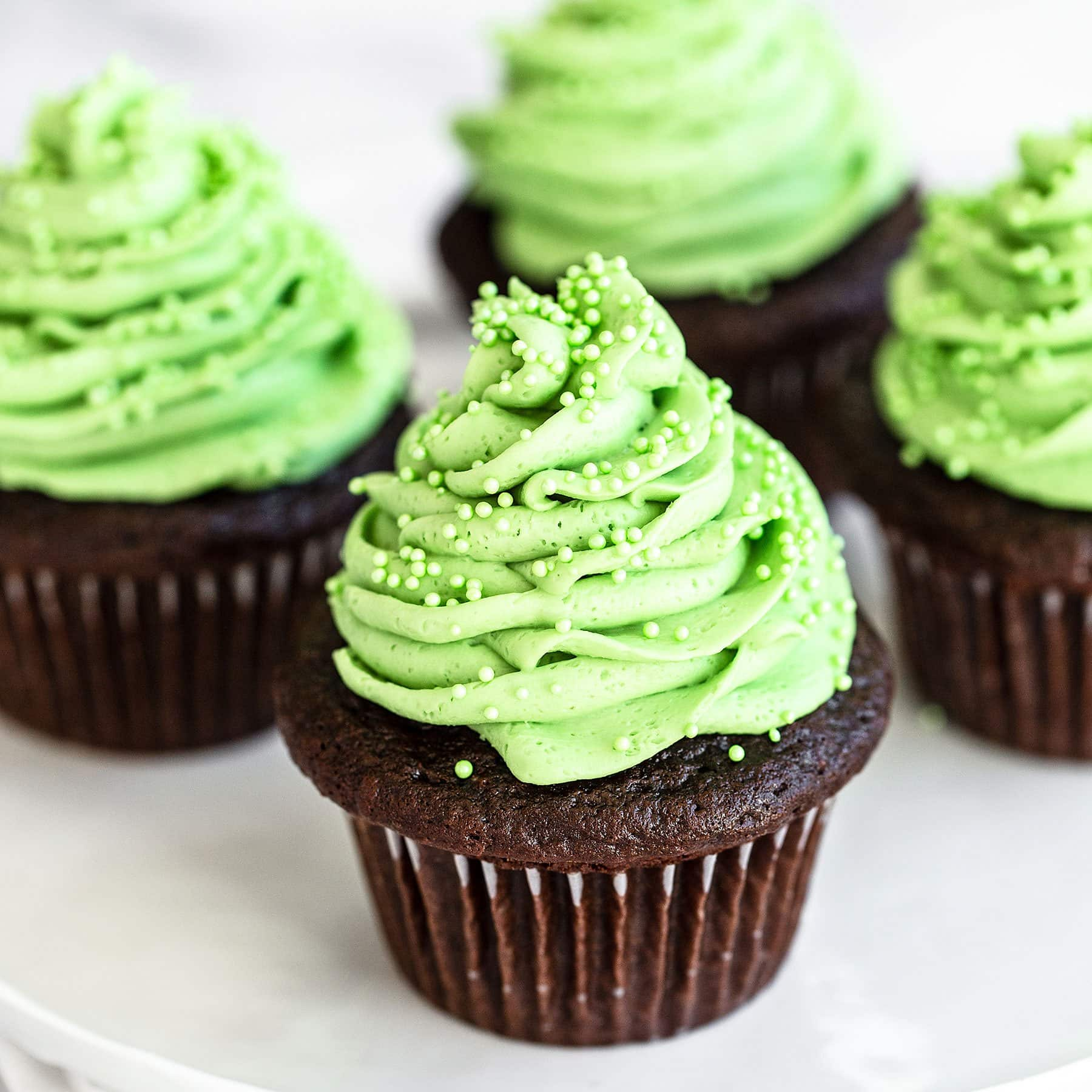 Plate of chocolate mint cupcakes