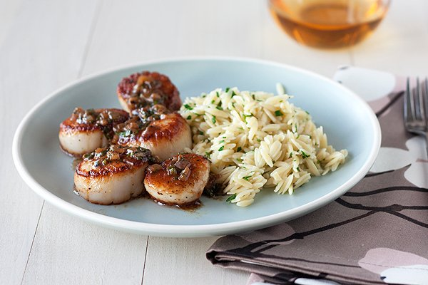 Seared Scallops with Herb Butter Sauce and Orzo