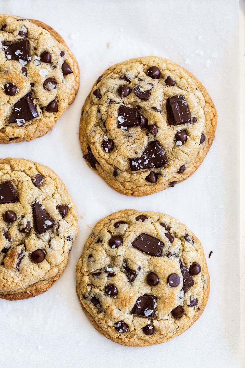 Four giant chocolate chip cookies