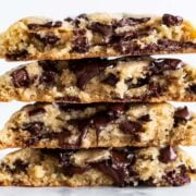 Stack of gooey giant chocolate chip cookies