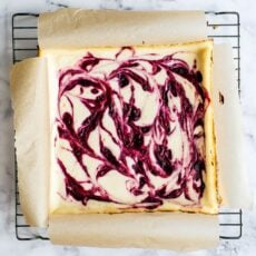 Cranberry Swirl Cheesecake Bars are tangy, sweet, fresh, and rich. They look almost as good as they taste!