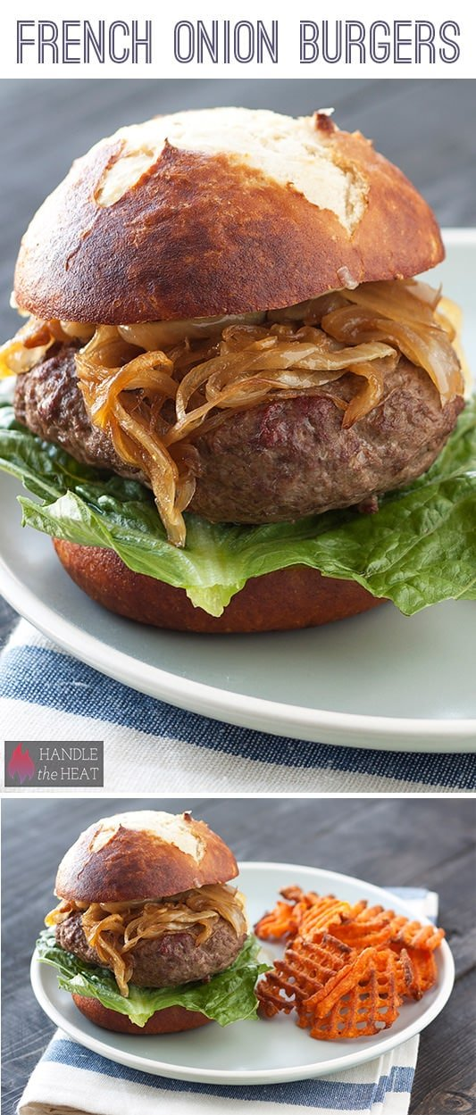 Scrumptious French Onion Burger Recipe - loaded with caramelized onions and Gruyere cheese!