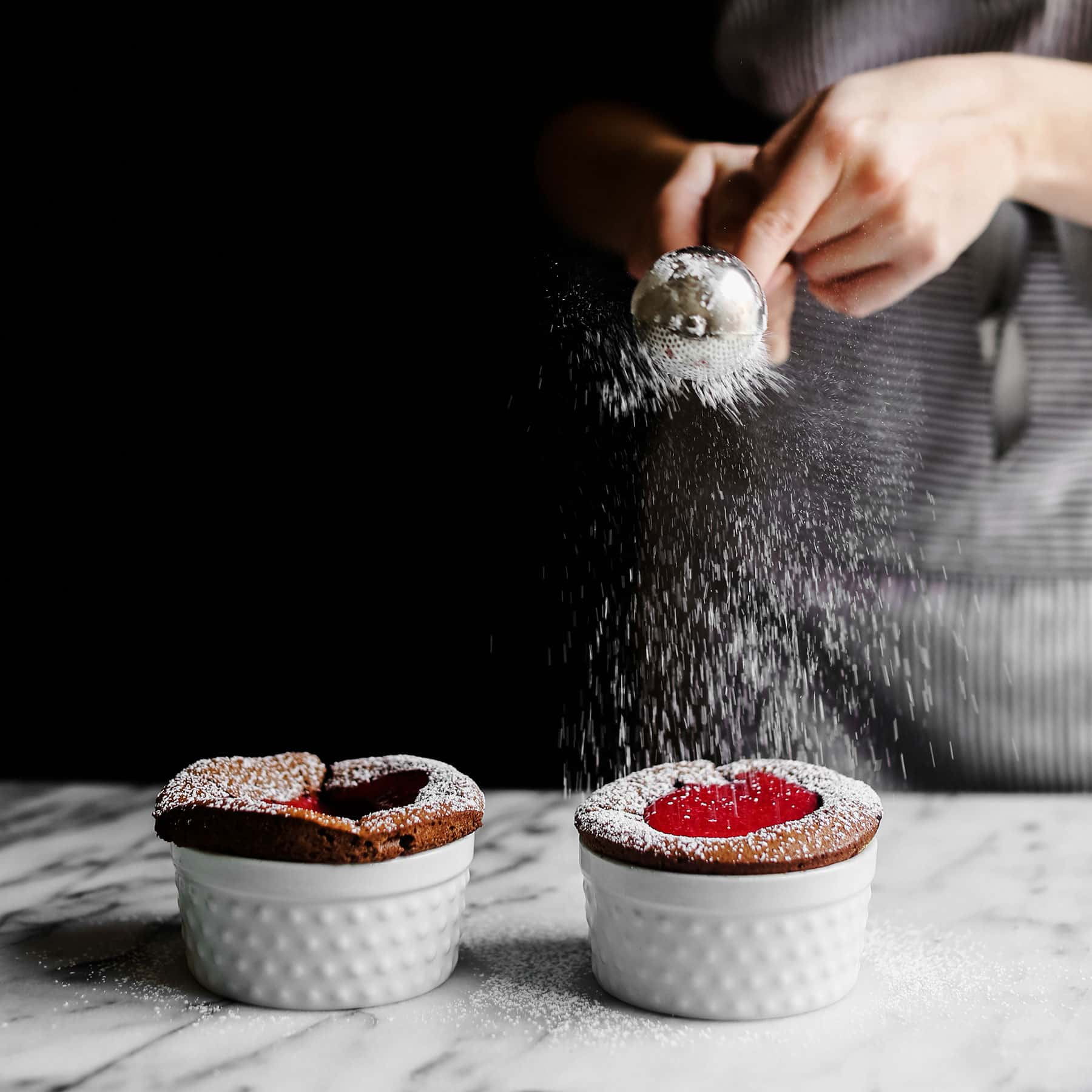 The ultimate romantic Valentine's Day dessert, he never has to know how EASY Chocolate Soufflés are to make!! Can be made ahead of time too!