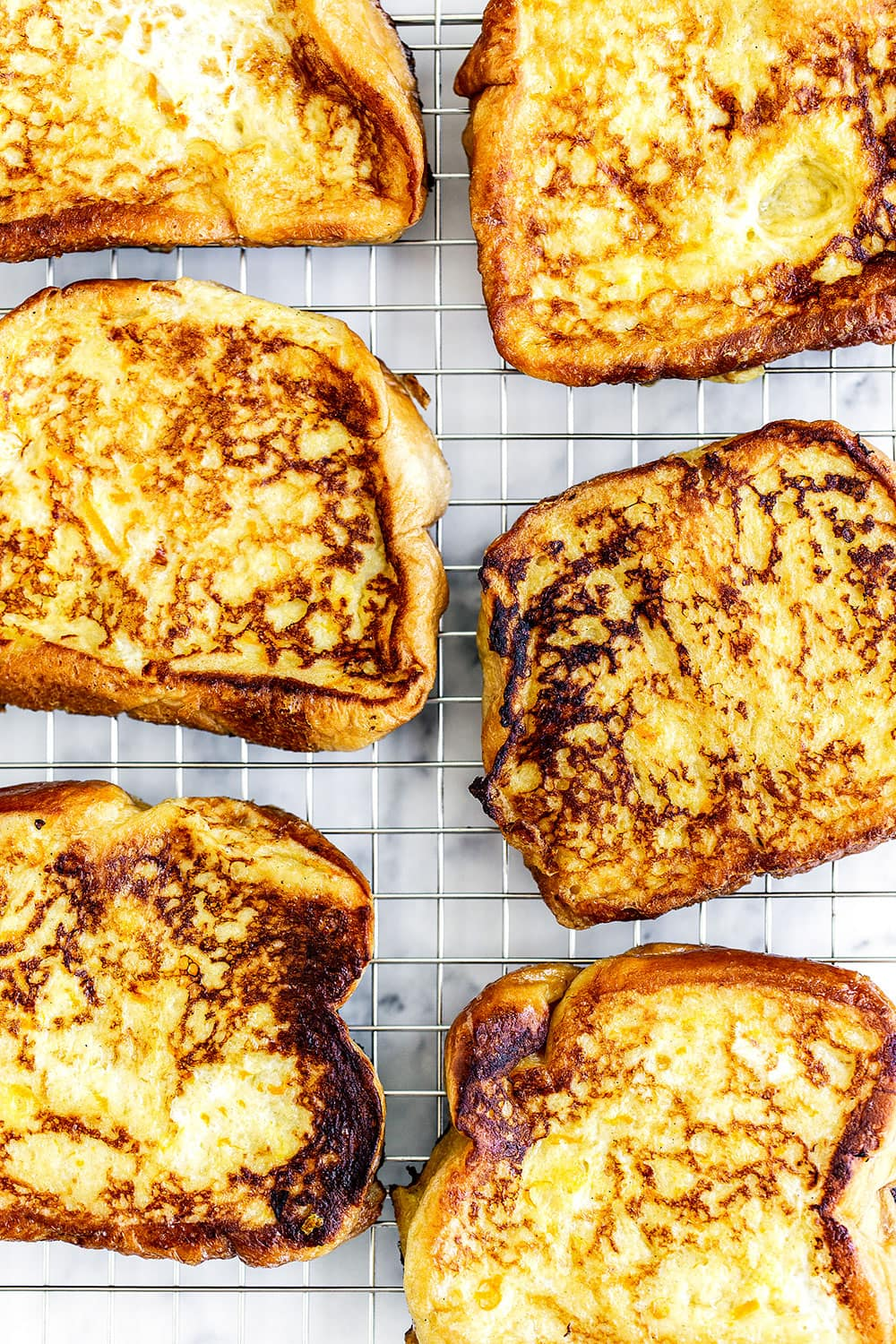 French toast on a cooling rack so it doesn't get soggy
