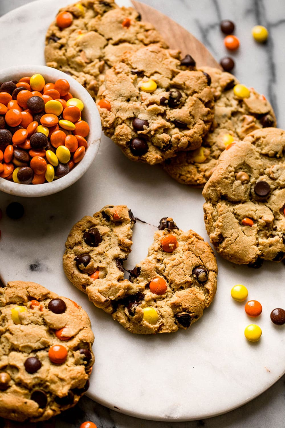 Giant Reese's Pieces Chocolate Chip Cookies are thick, chewy, chunky, and soft. Another incredible combination of peanut butter and chocolate!