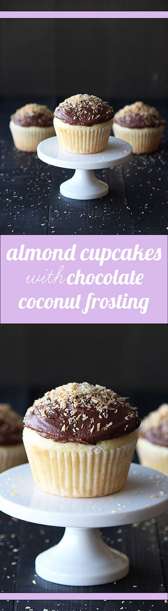 Almond Cupcakes with Chocolate Coconut Frosting