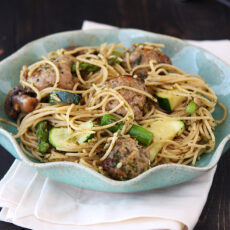 Spring Pesto Pasta with Turkey Meatballs