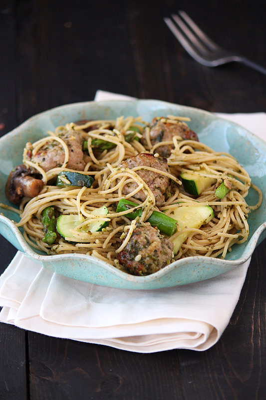 Spring Pesto Pasta with Turkey Meatballs from Handle the Heat