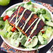 Blackened Salmon Salad with Avocado Ranch Dressing from HandletheHeat.com