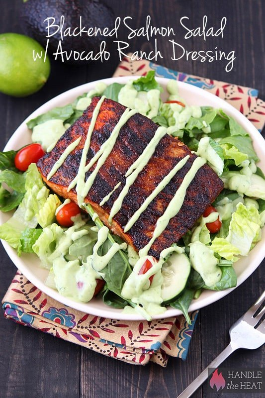 Blackened Salmon Salad with Avocado Ranch Dressing - tasty AND healthy!