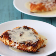 Pretzel Crusted Chicken with Cheesy Beer Sauce