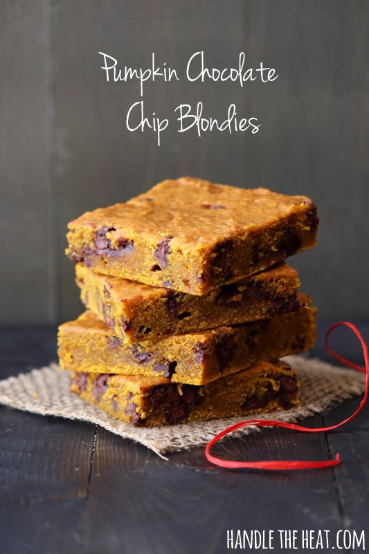Pumpkin Chocolate Chip Blondies from Handle the Heat @handleheat