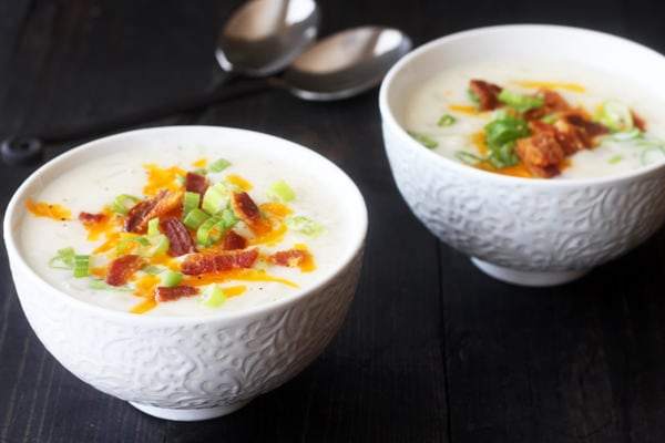 Light Loaded Potato Soup tastes JUST like a loaded baked potato and it's almost guilt free!