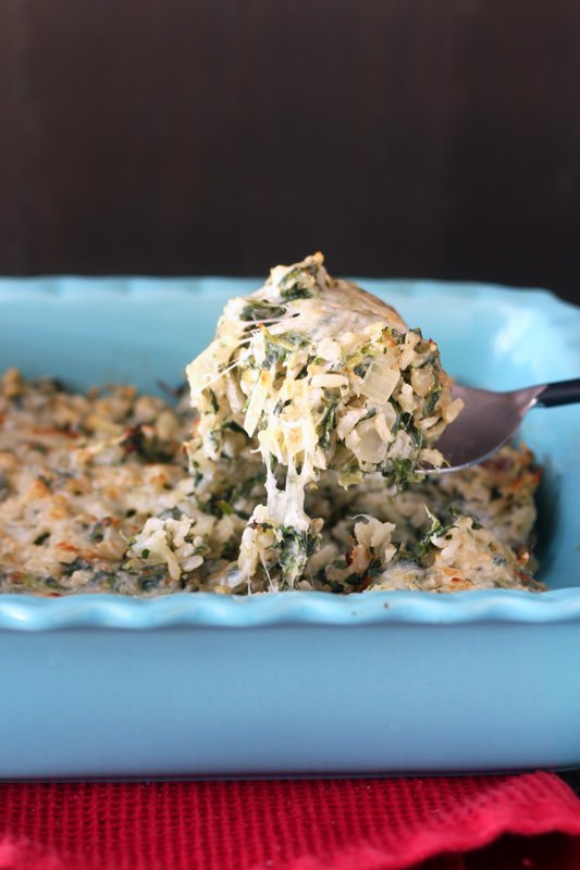 Cheesy Brown Rice and Spinach Bake from handletheheat.com