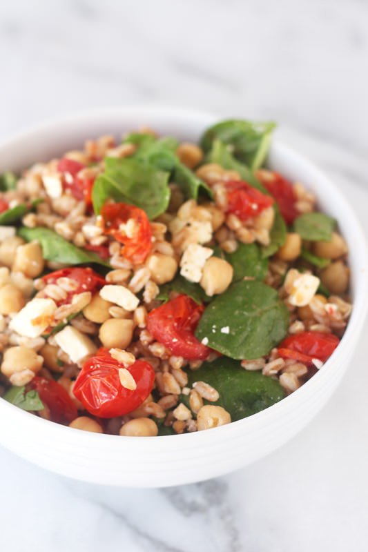Farro Salad with Roasted Tomatoes, Spinach, Chick Peas, and Feta