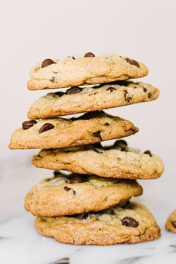 Ultimate Chocolate Chip Cookies are big, thick, chewy, soft in the middle, crisp at the edges, and chock full of chocolate chips!