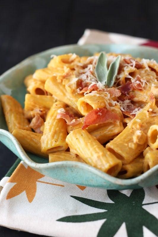 Creamy Pumpkin Prosciutto Rigatoni Recipe