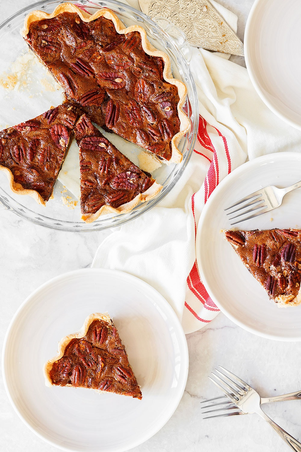 Slices of homemade Chocolate Pecan Pie for Thanksgiving