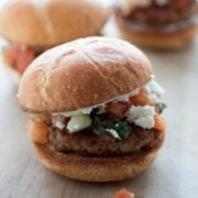 Chorizo Sliders with easy garlic mayo, fresh pico de gallo, and queso fresco
