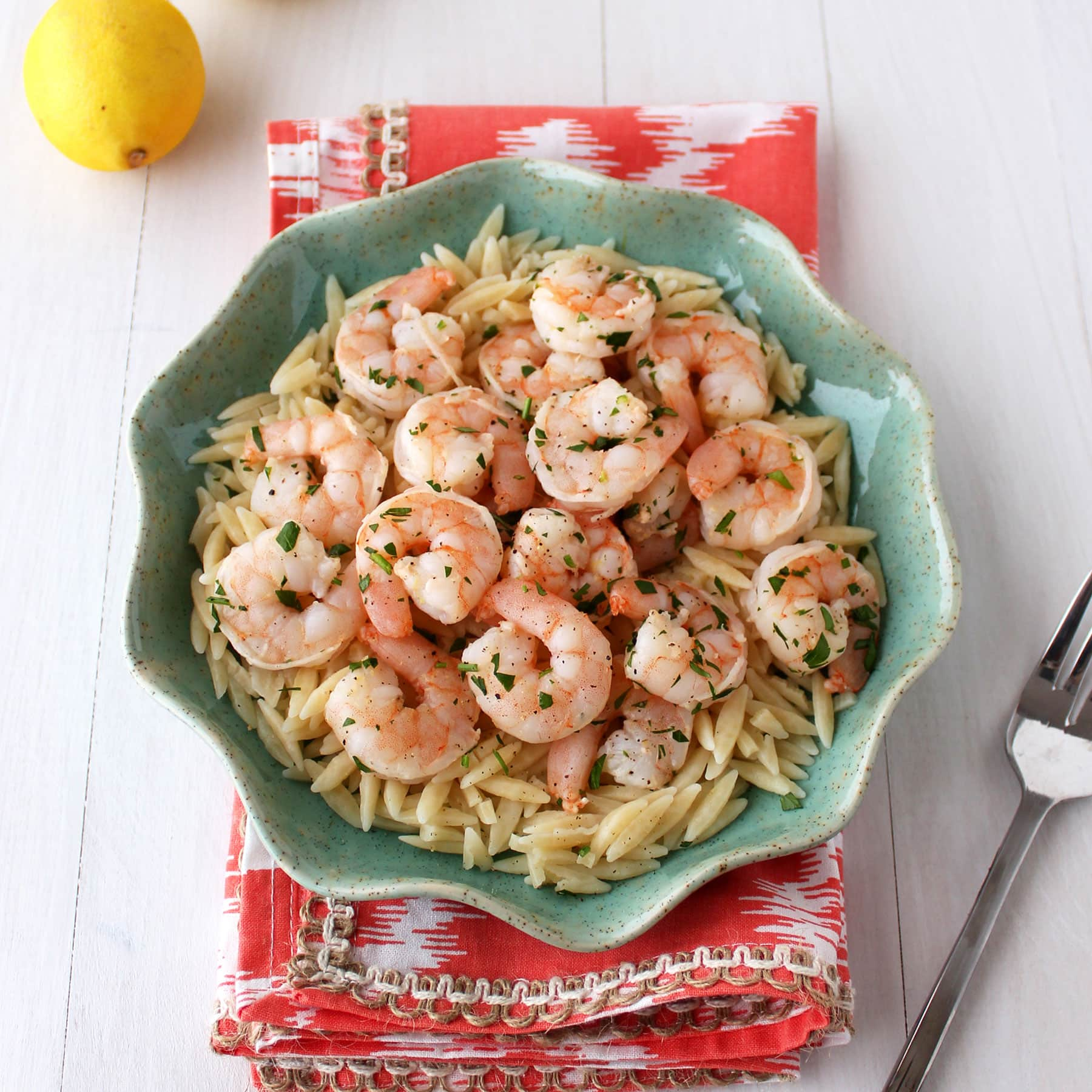 10 Minute Lemon Pepper Shrimp is super easy and fresh and goes well with so many things. It's a staple recipe in our house!