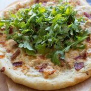 The BEST White Pizza with bacon and arugula!