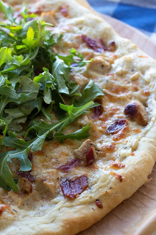 The Best White Pizza with bacon and arugula