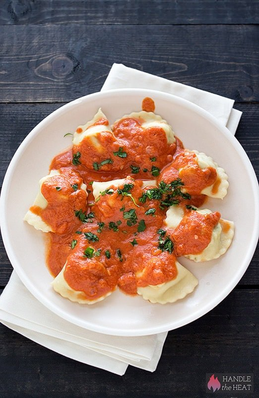 Homemade Chicken Ravioli with Creamy Tomato Sauce