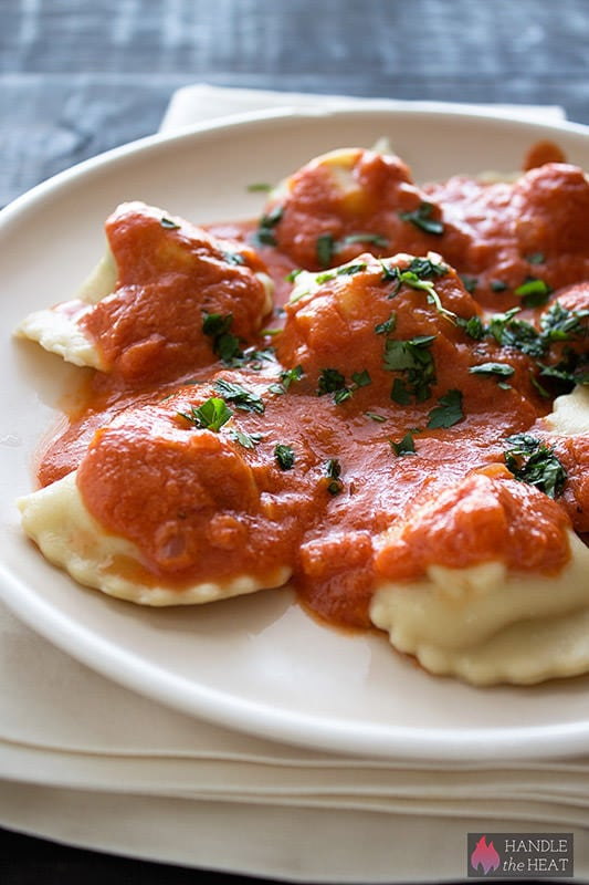 Chicken Ravioli with Creamy Tomato Sauce