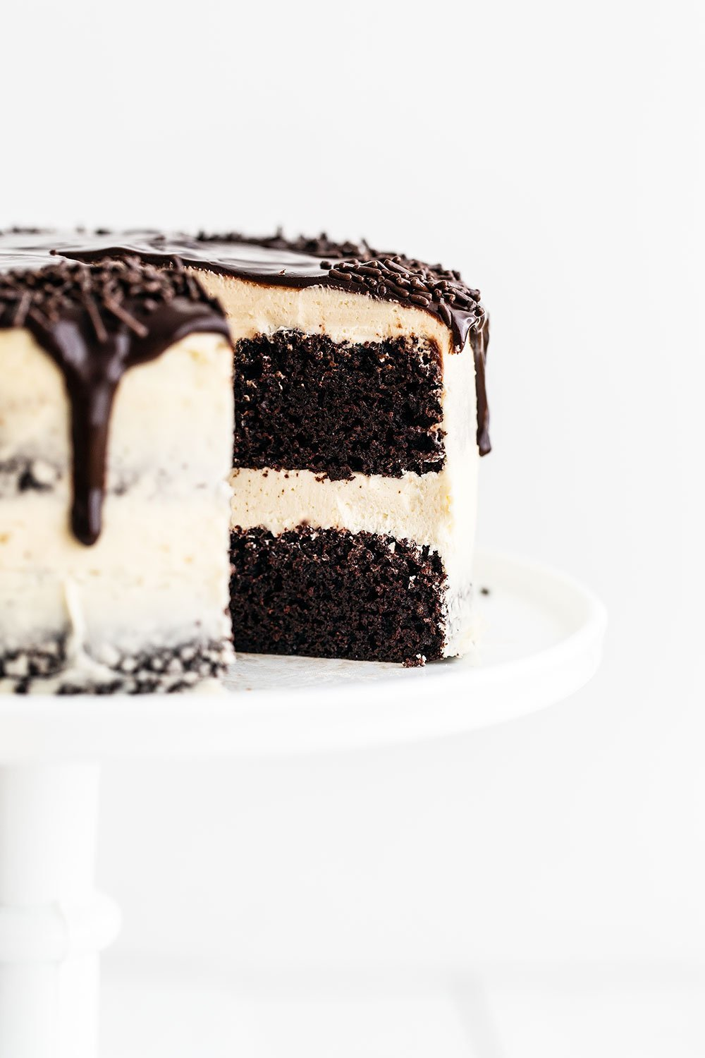 Cake on cake stand with slice removed