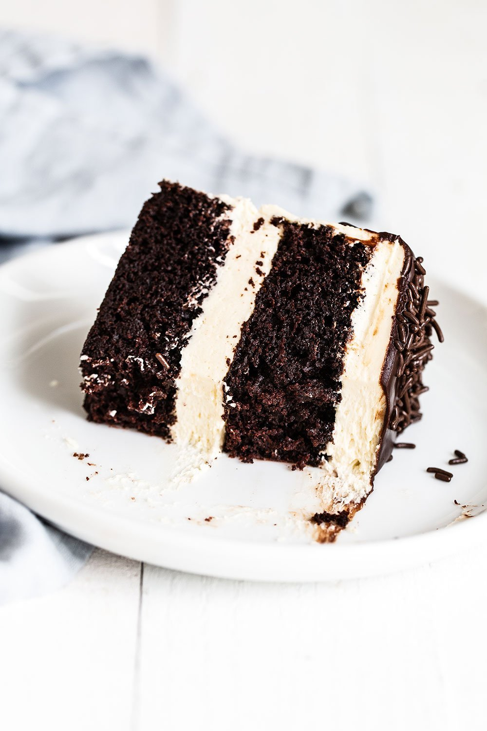 Slice of cake with forkfuls removed