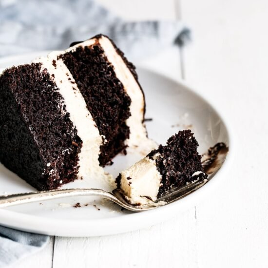 Slice of cake on plate with fork