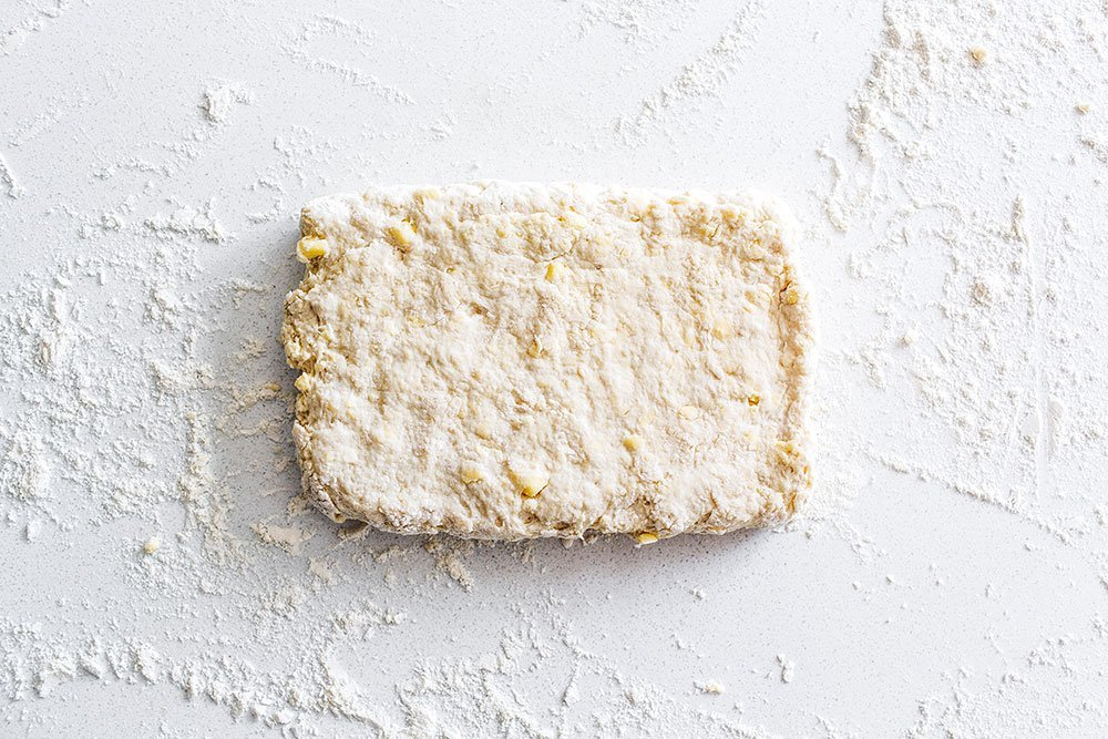 Rectangle of raw biscuit dough