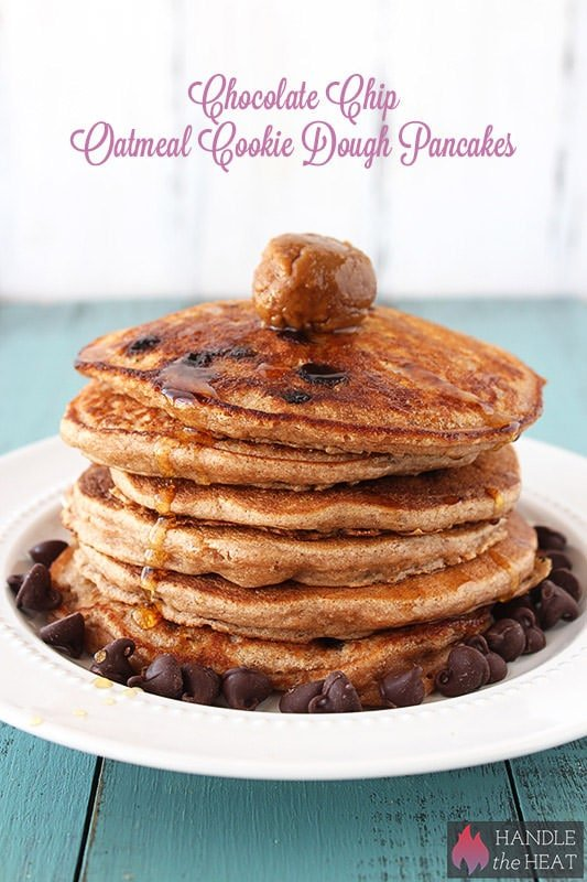 Chocolate Chip Oatmeal Cookie Pancakes - dollop with Biscoff for an ...