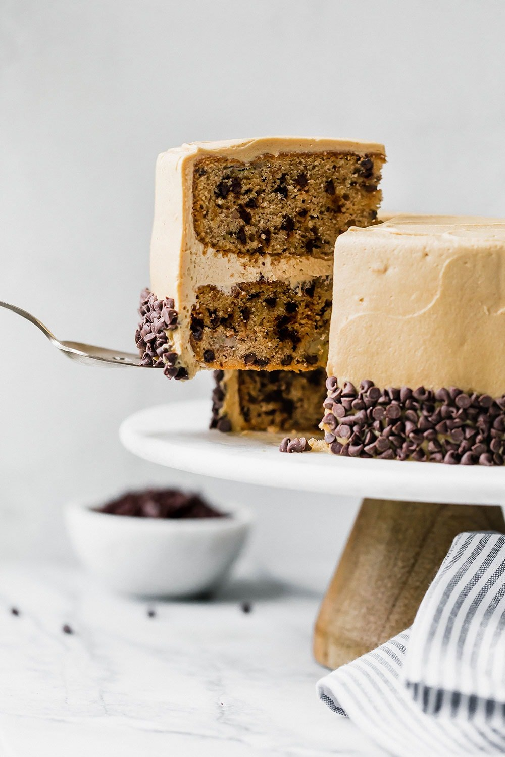 Bursting with sweet flavors, Banana Chocolate Chip Cake with Peanut Butter Frosting is a huge crowd-pleaser and better than any store-bought cake. Love!