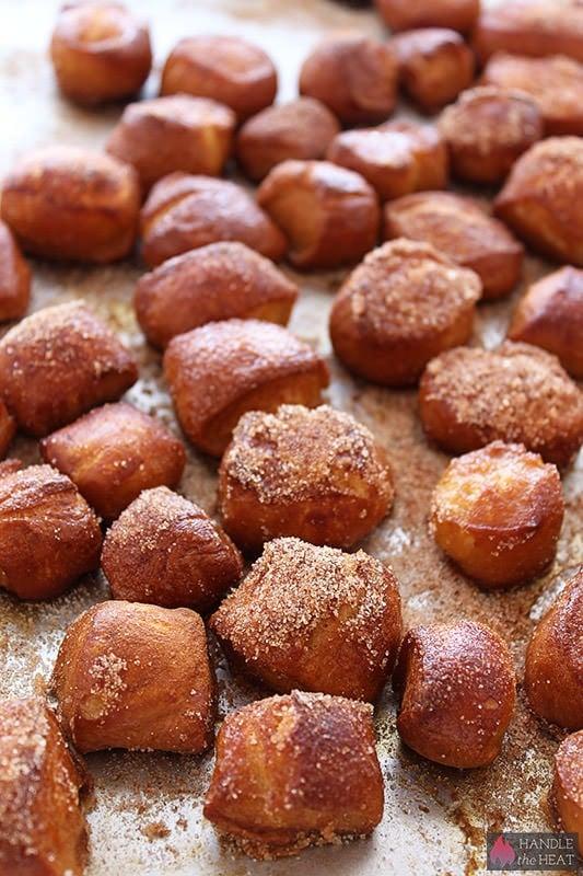 Homemade Soft Pretzel Bites with Cinnamon Sugar from handletheheat.com